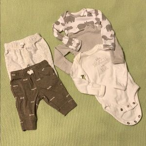 Carter's newborn bundle- 2 pants, 3 LS onesies